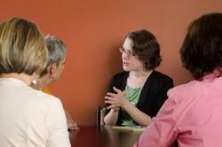 Professionals discussing