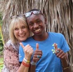 "Anne-Marie Tipper with one of the very special Rafiki Mwema ""Kings"""