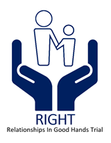 RIGHT Trial logo - two hands supporting a parent and child