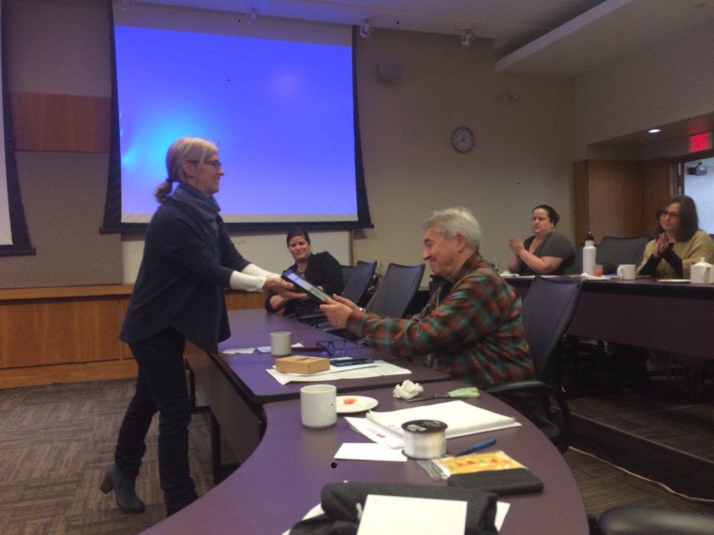 Sian Phillips, Ph.D. giving Dan Hughes, Ph.D. his lifetime achievement award